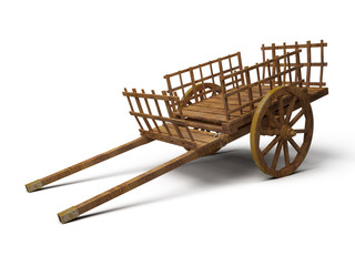 vintage wooden cart - 3d illustration isolated on white
