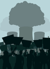 Demonstration against nuclear power plant vector background
