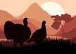 Wild turkey hunting season landscape background