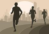 Marathon runners in skyscraper city landscape background