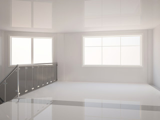 empty wide hall with stair railing - 3d illustration