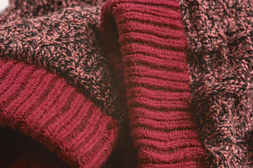 Macro  photograph of pair  red knitted sock