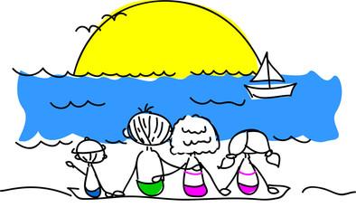 семьи на пляже смотреть вектор ВС