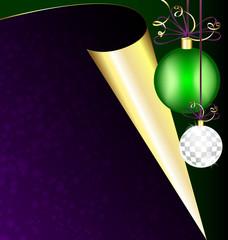 purple paper and Christmas balls