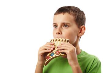 Boy playing panpipe