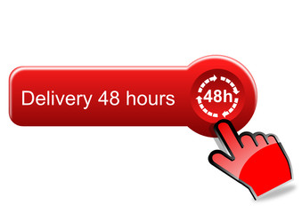 Delivery 48 hours button with red hand