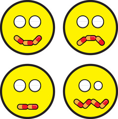 Emoticon Faces With Pill Expressions