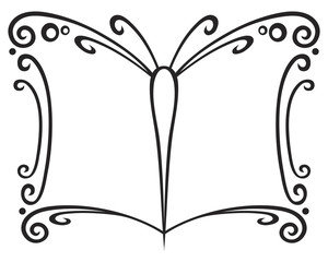 Symbol of book created of butterfly wings