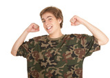 young man in too great camouflage shirt