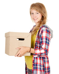 smiling teenage woman keeping cardboard box