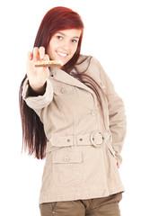 healthy lifestyle, teenage girl eating granola bar