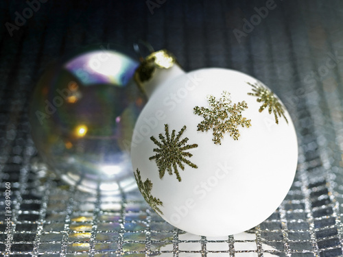 ornamented white christmas bauble