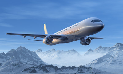 Morning airliner flight over the snowy mountain peaks