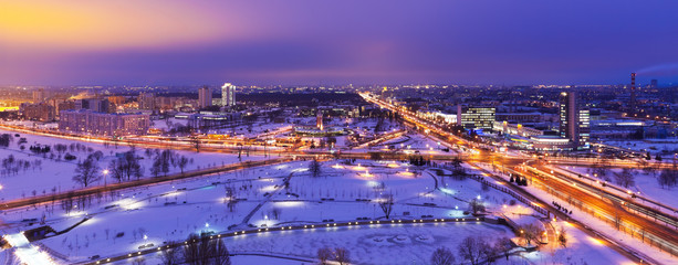 Night winter aerial panorama of Minsk, Belarus