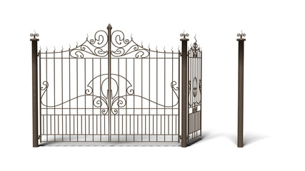 bronze fence on the white