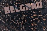 Luftansicht einer Stadt in 3D mit Schriftzug Belgrad poster