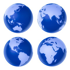 Four blue high-detailed earth