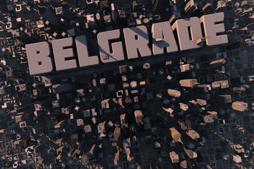 Skyline of urban city in 3D with name Belgrade