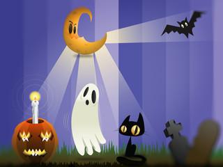 Halloween zucca fantasma gatto pipistrello luna