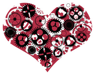 red heart and gears on white