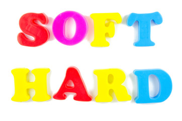 soft and hard written in fridge magnets