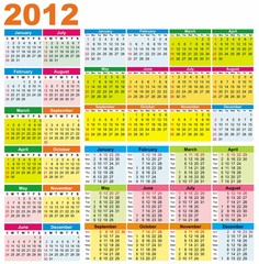Colorful calendars for 2012