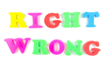 right and wrong written in fridge magnets