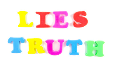 lies and truth written in fridge magnets