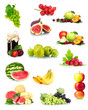 collage with tasty summer fruits and berries isolated on white