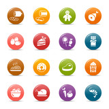 Fototapety Colored dots - Food Icons