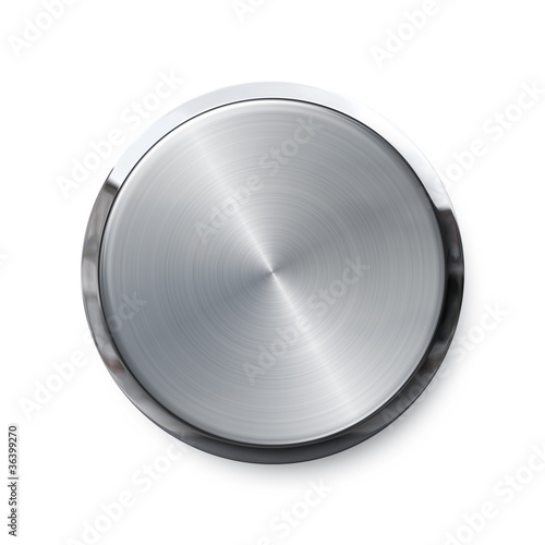 Blank silver push button or volume knob