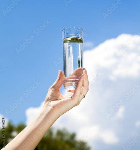 Glass of water in hand