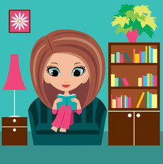 Girl cartoon reads the book on a sofa. vector