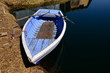 Old Blue Rowing Boat on Uros Islands