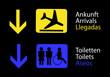 Informacion de aseos y llegadas en el aeropuerto