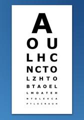 Eye test card on blue background