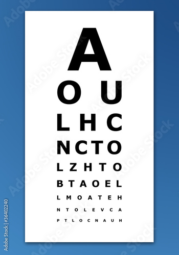 Eye test card on blue background