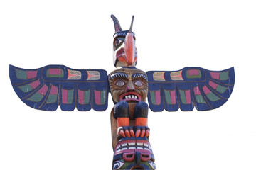 Totem Pole on white Background