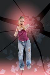 Aggressive girl smashes his fist glass