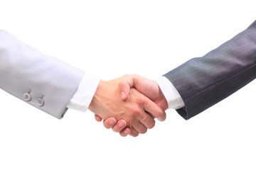 Two businessmen hands handshake isolated on