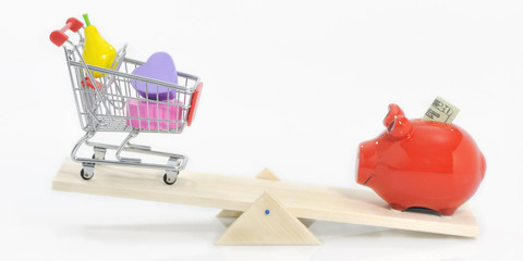 Saving and under-spending; savings pig and shopping cart