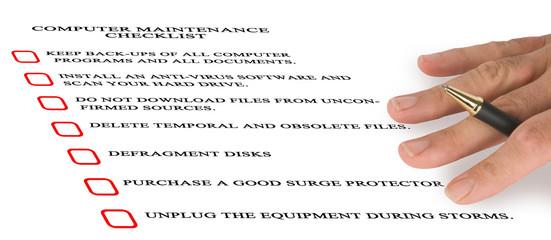 Checklist for computer maintenance