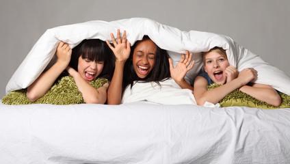 Hilarious laughter fun at teenage slumber party