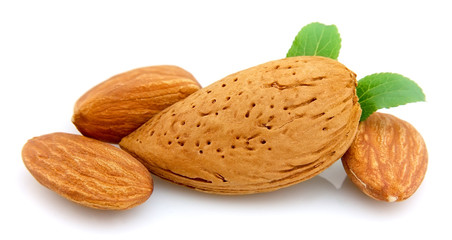 almonds with a leaf