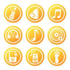 set of 9 orange musical tools signs