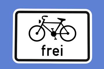Verkehrszeichen - Fahrräder frei
