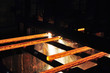 Glühende Träger im Stahlwerk // steelworks
