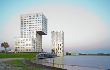 Apartment building and a lake, Holland