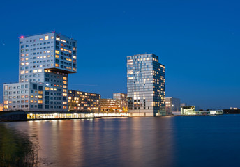 Highrise after sunset, Holland
