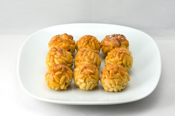 Panellets on a dish